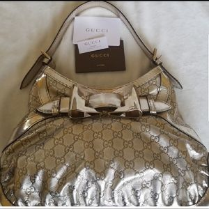 💯 AUTHENTIC Metallic Gucci Guccisma Handbag